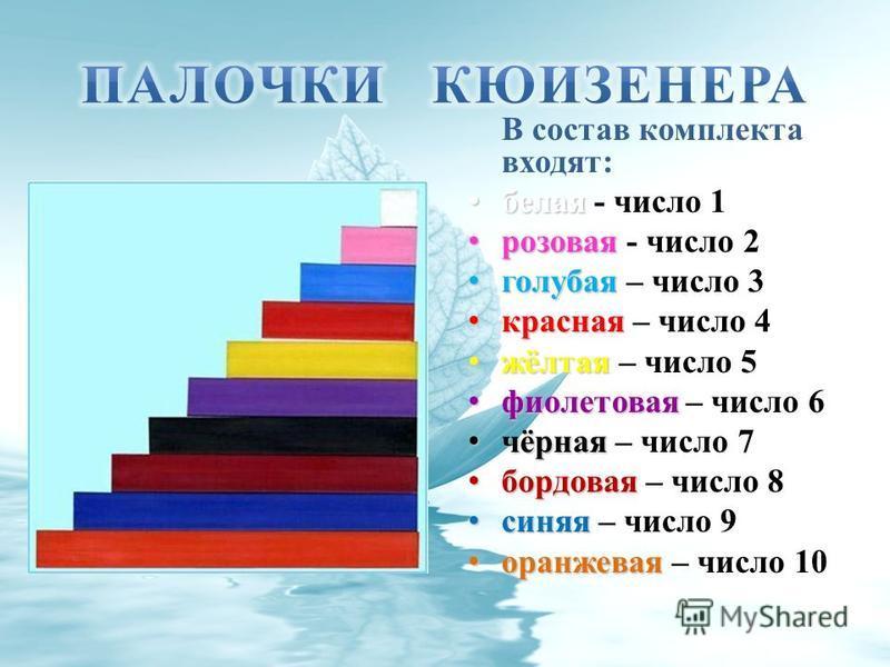 В состав комплекта входят: белая белая - число 1 розовая розовая - число 2 голубая голубая – число 3 красная красная – число 4 жёлтая жёлтая – число 5 фиолетовая фиолетовая – число 6 чёрная чёрная – число 7 бордовая бордовая – число 8 синяя синяя – ч
