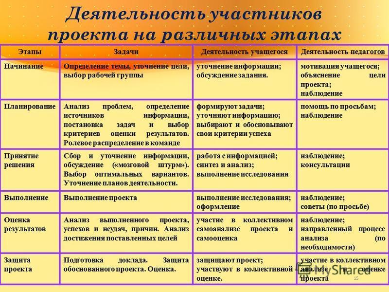 Деятельность участников проекта на различных этапах 15