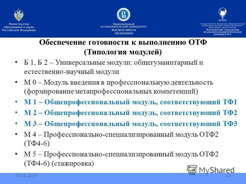 Обеспечение готовности к выполнению ОТФ (Типология модулей) Б 1, Б 2 – Универсальные модули: общегуманитарный и естественно-научный модули М 0 – Модуль введения в профессиональную деятельность (формирование мета профессиональных компетенций) М 1 – Об