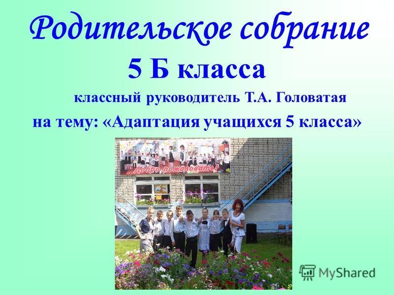 Родительское собрание 5 Б класса классный руководитель Т.А. Головатая на тему: «Адаптация учащихся 5 класса»