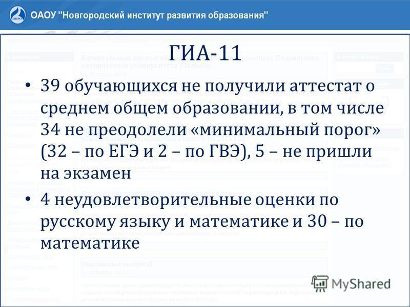 ГИА-11 39 обучающихся не получили аттестат о среднем общем образовании, в том числе 34 не преодолели «минимальный порог» (32 – по ЕГЭ и 2 – по ГВЭ), 5 – не пришли на экзамен 4 неудовлетворительные оценки по русскому языку и математике и 30 – по матем
