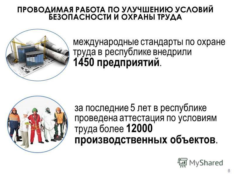 международные стандарты по охране труда в республике внедрили 1450 предприятий. ПРОВОДИМАЯ РАБОТА ПО УЛУЧШЕНИЮ УСЛОВИЙ БЕЗОПАСНОСТИ И ОХРАНЫ ТРУДА за последние 5 лет в республике проведена аттестация по условиям труда более 12000 производственных объ