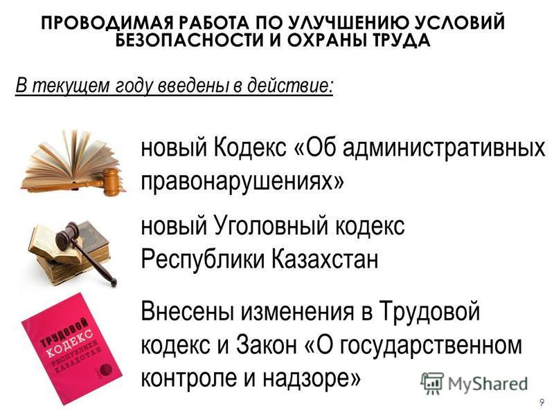 ПРОВОДИМАЯ РАБОТА ПО УЛУЧШЕНИЮ УСЛОВИЙ БЕЗОПАСНОСТИ И ОХРАНЫ ТРУДА В текущем году введены в действие: новый Кодекс «Об административных правонарушениях» новый Уголовный кодекс Республики Казахстан Внесены изменения в Трудовой кодекс и Закон «О госуда