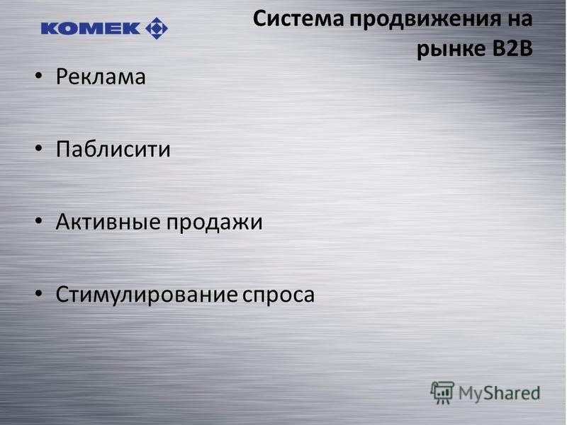 Система продвижения на рынке B2B Реклама Паблисити Активные продажи Стимулирование спроса