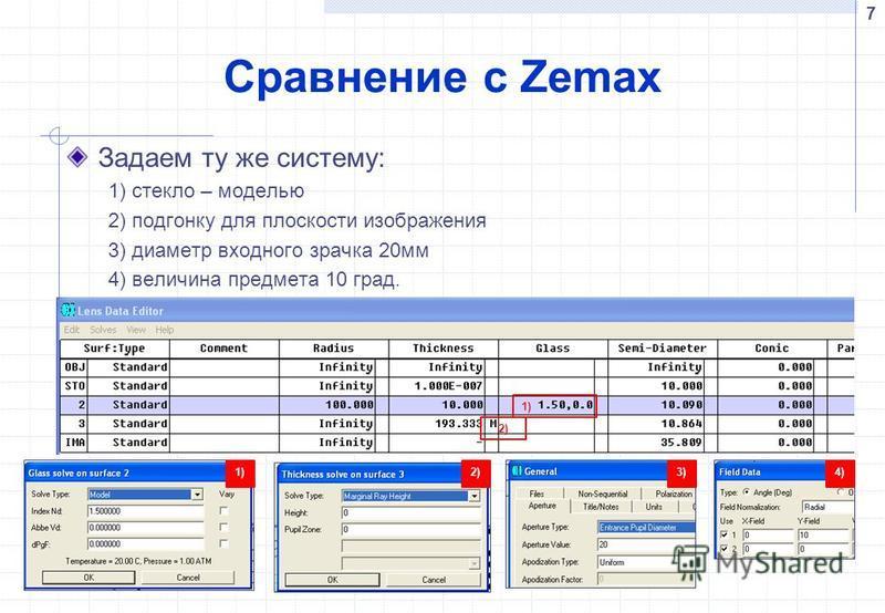 Сравнение с Zemax Задаем ту же систему: 1) стекло – моделью 2) подгонку для плоскости изображения 3) диаметр входного зрачка 20 мм 4) величина предмета 10 град. 7 1) 2) 1)2)3)4)