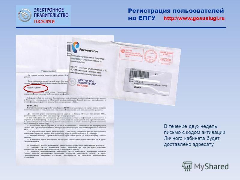 В течение двух недель письмо с кодом активации Личного кабинета будет доставлено адресату