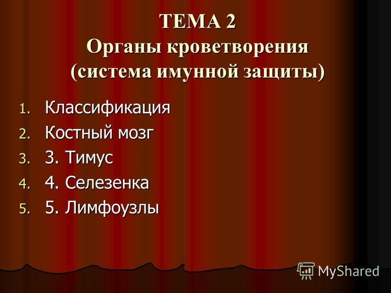 ТЕМА 2 Органы кроветворения (система иммунной защиты) 1. Классификация 2. Костный мозг 3. 3. Тимус 4. 4. Селезенка 5. 5. Лимфоузлы