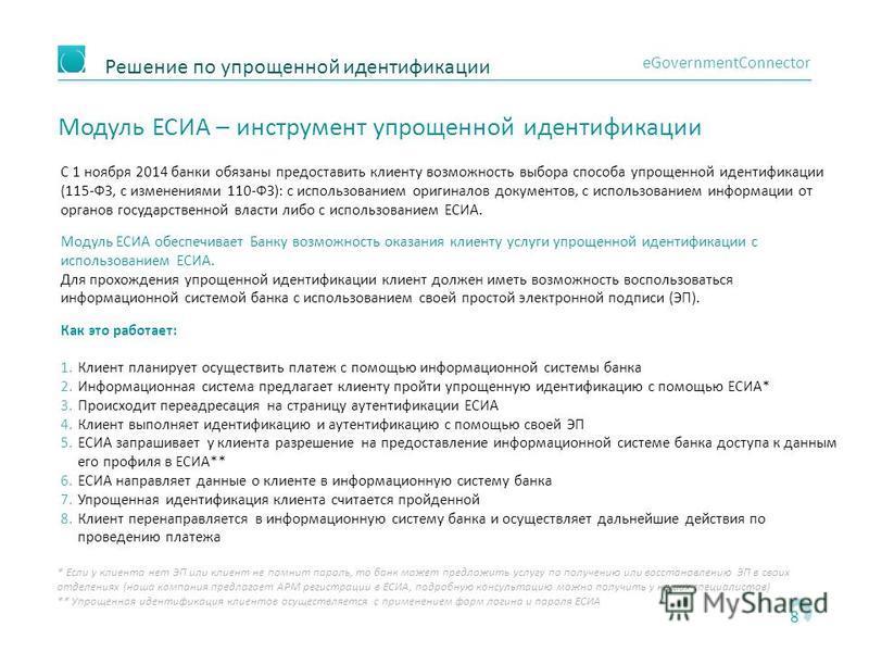 Решение по упрощенной идентификации 8 eGovernmentConnector Модуль ЕСИА – инструмент упрощенной идентификации С 1 ноября 2014 банки обязаны предоставить клиенту возможность выбора способа упрощенной идентификации (115-ФЗ, с изменениями 110-ФЗ): с испо
