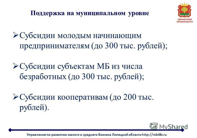 Поддержка на муниципальном уровне Субсидии молодым начинающим предпринимателям (до 300 тыс. рублей); Субсидии субъектам МБ из числа безработных (до 300 тыс. рублей); Субсидии кооперативам (до 200 тыс. рублей). Управление по развитию малого и среднего