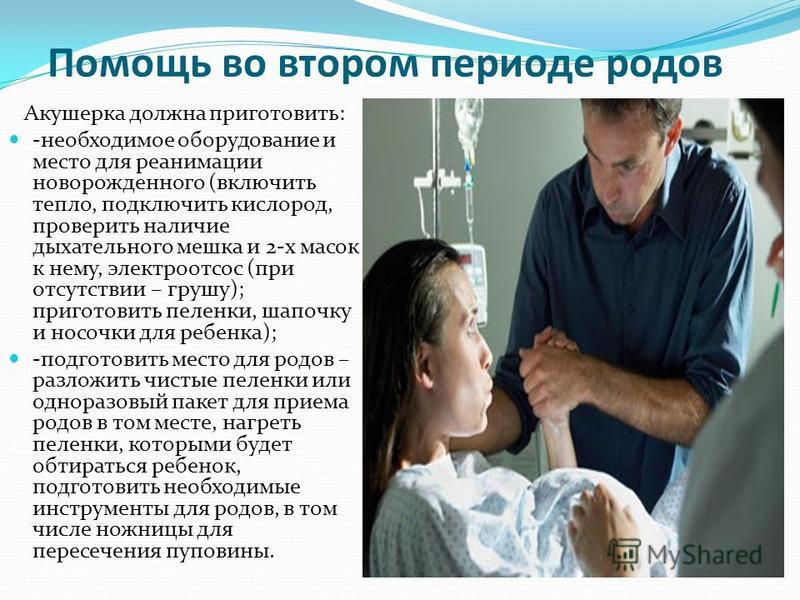 Помощь во втором периоде родов Акушерка должна приготовить: -необходимое оборудование и место для реанимации новорожденного (включить тепло, подключить кислород, проверить наличие дыхательного мешка и 2-х масок к нему, электроотсос (при отсутствии –