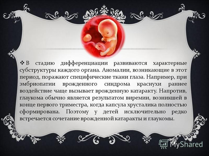 В стадию дифференциации развиваются характерные субструктуры каждого органа. Аномалии, возникающие в этот период, поражают специфические ткани глаза. Например, при эмбриопатии врожденного синдрома краснухи раннее воздействие чаще вызывает врожденную