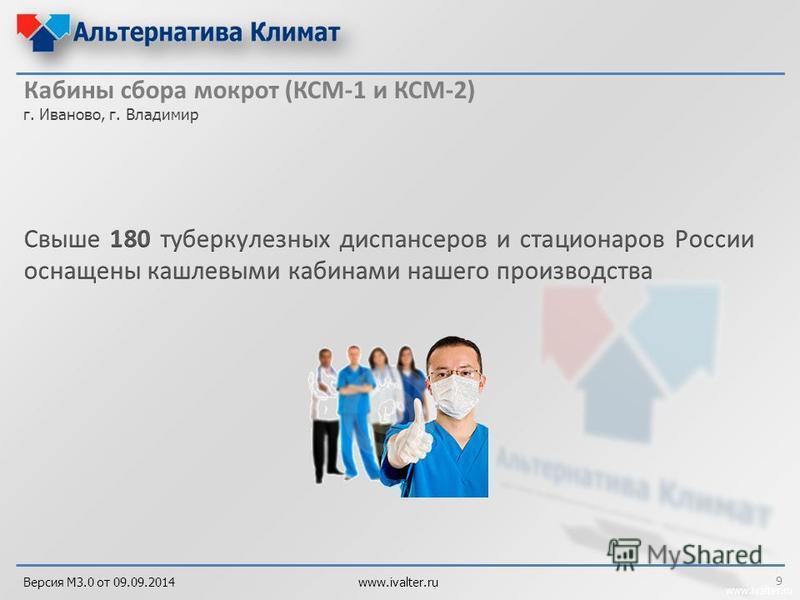 www.ivalter.ru Кабины сбора мокрот (КСМ-1 и КСМ-2) г. Иваново, г. Владимир 9 Версия М3.0 от 09.09.2014 www.ivalter.ru