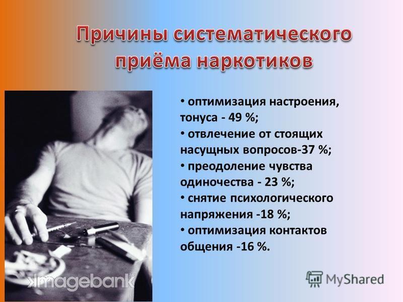 оптимизация настроения, тонуса - 49 %; отвлечение от стоящих насущных вопросов-37 %; преодоление чувства одиночества - 23 %; снятие психологического напряжения -18 %; оптимизация контактов общения -16 %.