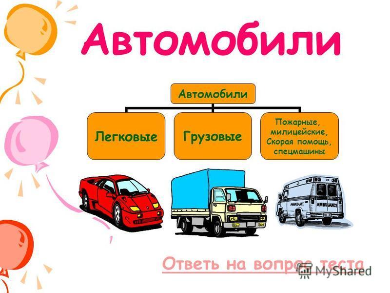 Ответь на вопрос теста Автомобили Легковые Грузовые Пожарные, милицейские, Скорая помощь, спецмашины
