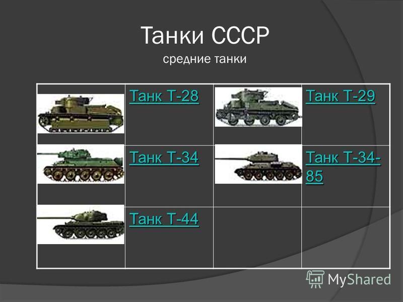 Танки СССР средние танки Танк Т-28 Танк Т-28 Танк Т-29 Танк Т-29 Танк Т-34 Танк Т-34 Танк Т-34- 85 Танк Т-34- 85 Танк Т-44 Танк Т-44