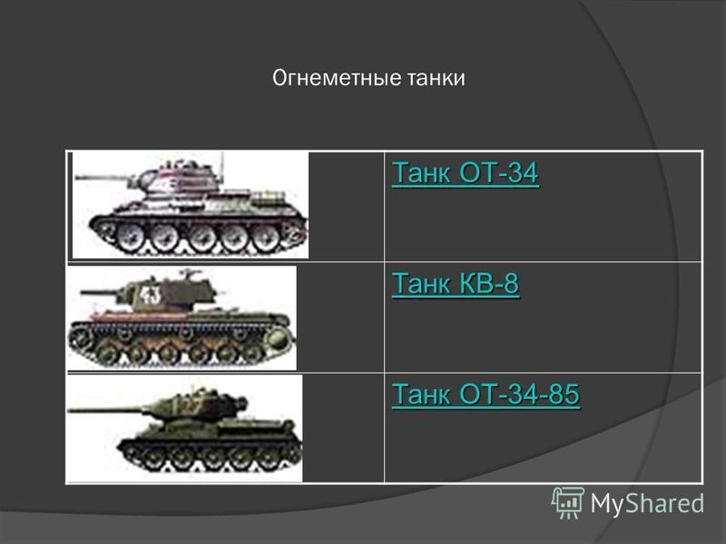 Огнеметные танки Танк ОТ-34 Танк ОТ-34 Танк КВ-8 Танк КВ-8 Танк ОТ-34-85 Танк ОТ-34-85