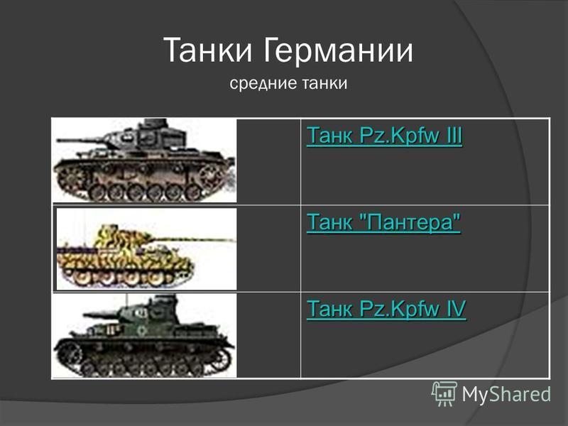 Танки Германии средние танки Танк Pz.Kpfw III Танк Pz.Kpfw III Танк Пантера Танк Пантера Танк Pz.Kpfw IV Танк Pz.Kpfw IV
