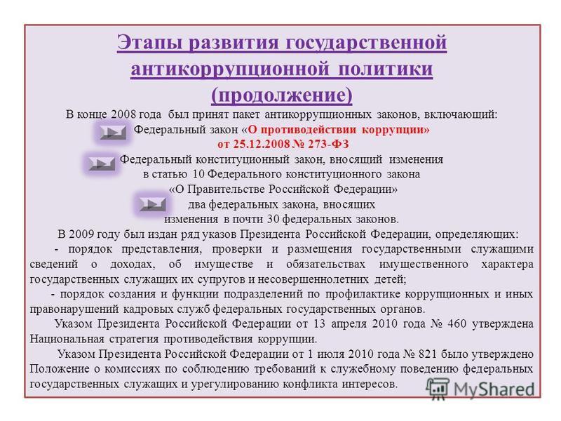 Этапы развития государственной антикоррупционной политики (продолжение) В конце 2008 года был принят пакет антикоррупционных законов, включающий: Федеральный закон «О противодействии коррупции» от 25.12.2008 273-ФЗ Федеральный конституционный закон,