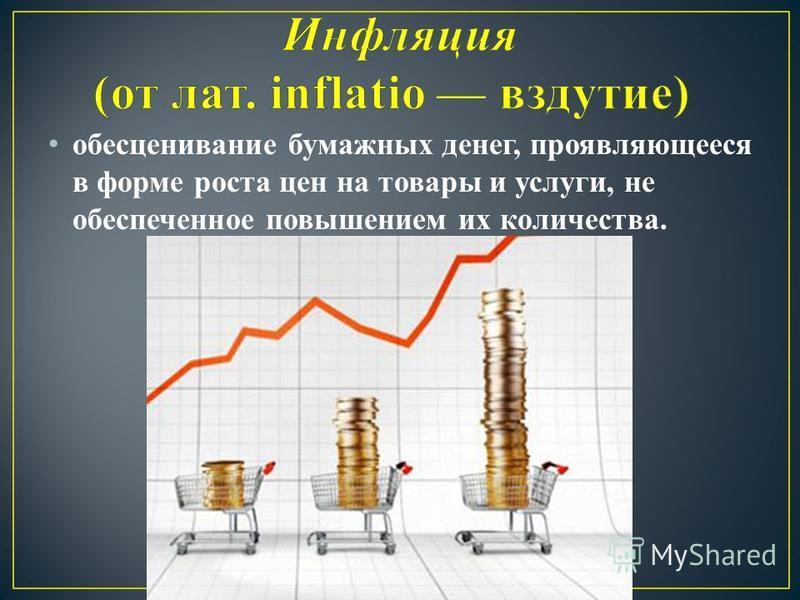 обесценивание бумажных денег, проявляющееся в форме роста цен на товары и услуги, не обеспеченное повышением их количества.