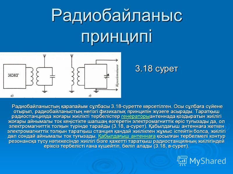Радиобайланыс принципі 3.18 сурет 3.18 сурет Радиобайланыстың қарапайым сұлбасы 3.18-суретте көрсетілген. Осы сұлбаға сүйене отырып, радиобайланыстың негізгі физикалық принципін жүзеге асырады. Таратқыш радиостанцияда жоғары жиілікті тербелістер гене