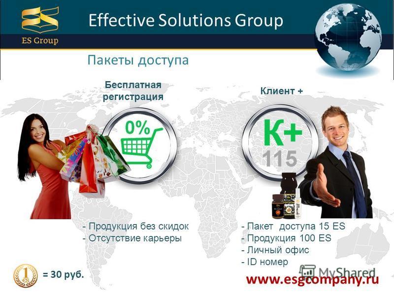 ProPowerPoint.Ru Effective Solutions Group Пакеты доступа Бесплатная регистрация Клиент + - Продукция без скидок - Отсутствие карьеры - Пакет доступа 15 ES - Продукция 100 ES - Личный офис - ID номер www.esgcompany.ru = 30 руб.