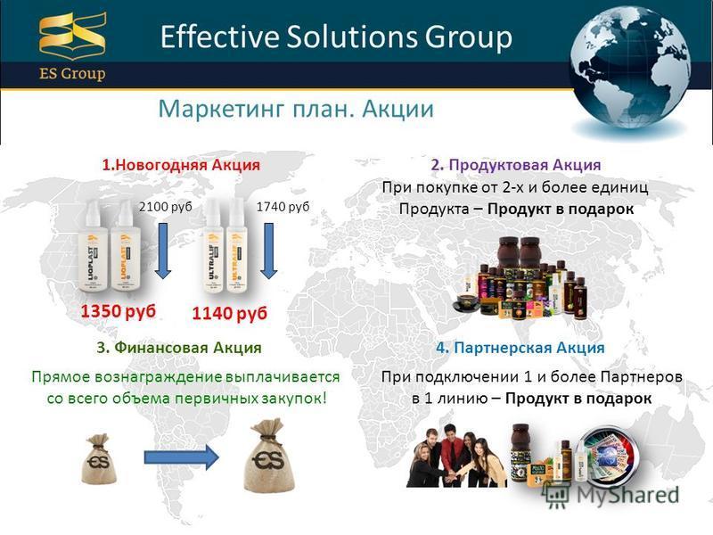 ProPowerPoint.Ru Effective Solutions Group Маркетинг план. Акции 1. Новогодняя Акция 2. Продуктовая Акция 3. Финансовая Акция 4. Партнерская Акция 2100 руб 1740 руб 1350 руб 1140 руб Прямое вознаграждение выплачивается со всего объема первичных закуп