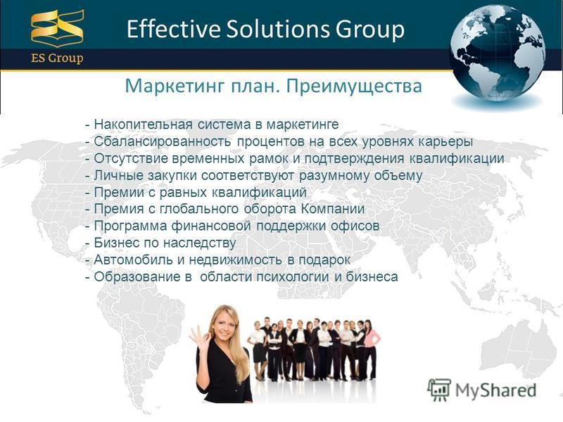 ProPowerPoint.Ru Effective Solutions Group Маркетинг план. Преимущества - Накопительная система в маркетинге - Сбалансированность процентов на всех уровнях карьеры - Отсутствие временных рамок и подтверждения квалификации - Личные закупки соответству