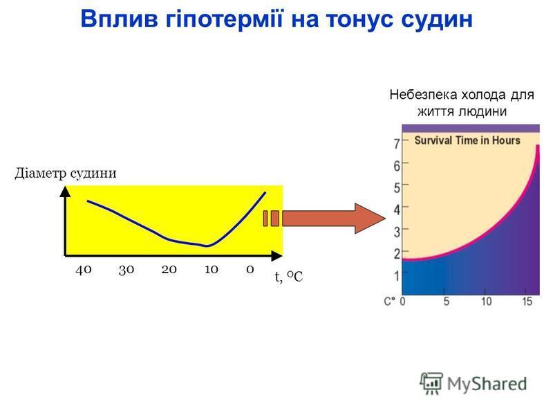 Вплив гіпотермії на тонус судин Діаметр судини t, O C 40 30 20 10 0 Небезпека холода для життя людини