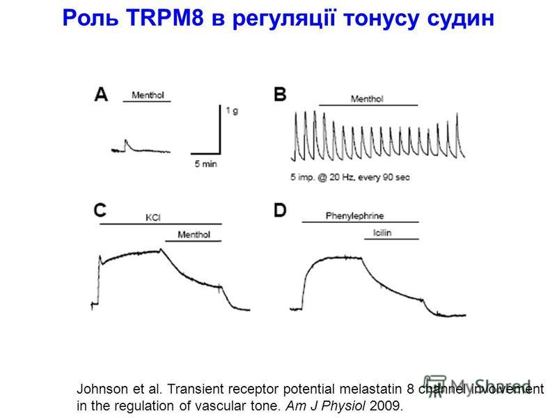 Johnson et al. Transient receptor potential melastatin 8 channel involvement in the regulation of vascular tone. Am J Physiol 2009. Роль TRPM8 в регуляції тонусу судин