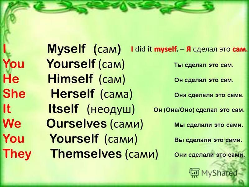 I Myself ( сам ) You Yourself (сам) He Himself (сам) She Herself (сама) It Itself (неодуш) We Ourselves (сами) You Yourself (сами) They Themselves (сами) Imyself. Я сам. I did it myself. – Я сделал это сам. Ты сделал это сам. Он сделал это сам. Она с