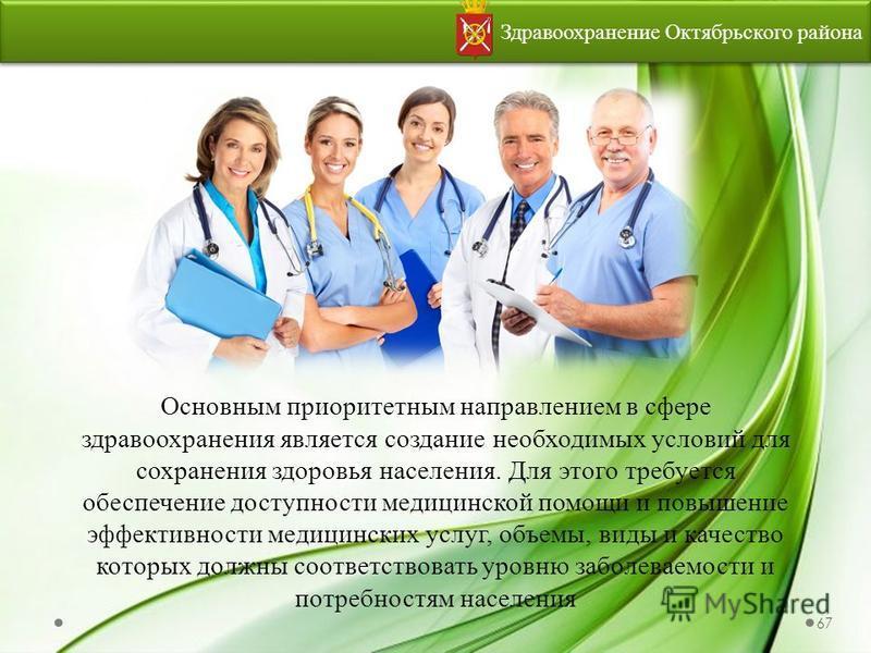 Здравоохранение Октябрьского района Основным приоритетным направлением в сфере здравоохранения является создание необходимых условий для сохранения здоровья населения. Для этого требуется обеспечение доступности медицинской помощи и повышение эффекти