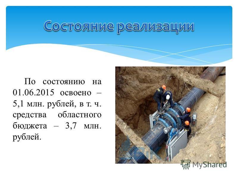 По состоянию на 01.06.2015 освоено – 5,1 млн. рублей, в т. ч. средства областного бюджета – 3,7 млн. рублей.