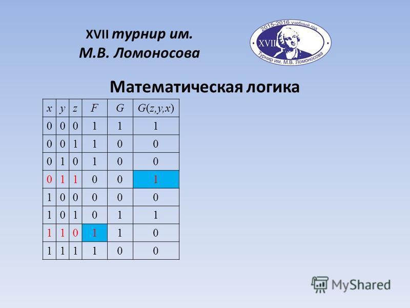 Математическая логика XVII турнир им. М.В. Ломоносова xyzFGG(z,y,x) 000111 001100 010100 011001 100000 101011 110110 111100