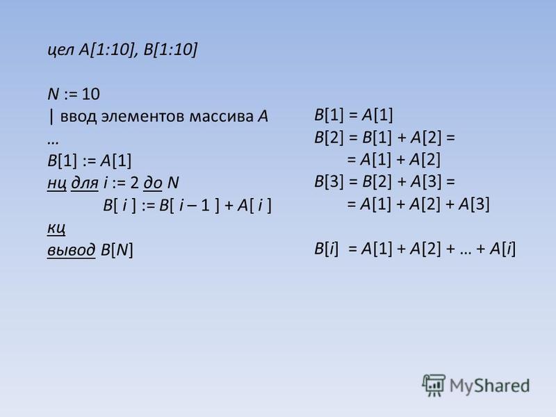 цел A[1:10], B[1:10] N := 10 | ввод элементов массива A … B[1] := A[1] нц для i := 2 до N B[ i ] := B[ i – 1 ] + A[ i ] кц вывод B[N] B[1] = A[1] B[2] = B[1] + A[2] = = A[1] + A[2] B[3] = B[2] + A[3] = = A[1] + A[2] + A[3] B[i] = A[1] + A[2] + … + A[
