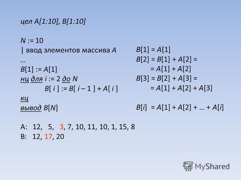 цел A[1:10], B[1:10] N := 10 | ввод элементов массива A … B[1] := A[1] нц для i := 2 до N B[ i ] := B[ i – 1 ] + A[ i ] кц вывод B[N] A: 12, 5, 3, 7, 10, 11, 10, 1, 15, 8 B: 12, 17, 20 B[1] = A[1] B[2] = B[1] + A[2] = = A[1] + A[2] B[3] = B[2] + A[3]