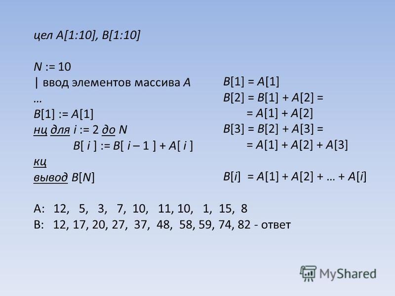 цел A[1:10], B[1:10] N := 10 | ввод элементов массива A … B[1] := A[1] нц для i := 2 до N B[ i ] := B[ i – 1 ] + A[ i ] кц вывод B[N] A: 12, 5, 3, 7, 10, 11, 10, 1, 15, 8 B: 12, 17, 20, 27, 37, 48, 58, 59, 74, 82 - ответ B[1] = A[1] B[2] = B[1] + A[2