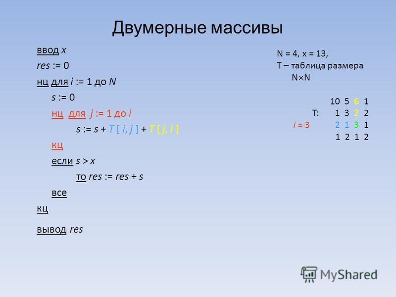 Двумерные массивы ввод x res := 0 нц для i := 1 до N s := 0 нц для j := 1 до i s := s + T [ i, j ] + T [ j, i ] кц если s > x то res := res + s все кц вывод res N = 4, x = 13, T – таблица размера N N 10 5 6 1 T: 1 3 2 2 i = 3 2 1 3 1 1 2