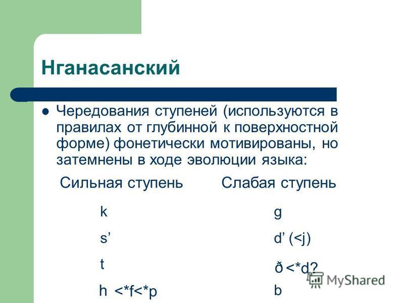 Нганасанский Чередования ступеней (используются в правилах от глубинной к поверхностной форме) фонетически мотивированы, но затемнены в ходе эволюции языка: Сильная ступень Слабая ступень k g s d (<j) t b h ð <*d? <*f<*p