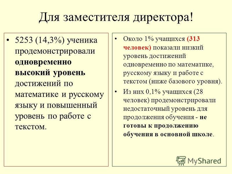 Для заместителя директора! 5253 (14,3%) ученика продемонстрировали одновременно высокий уровень достижений по математике и русскому языку и повышенный уровень по работе с текстом. Около 1% учащихся (313 человек) показали низкий уровень достижений одн
