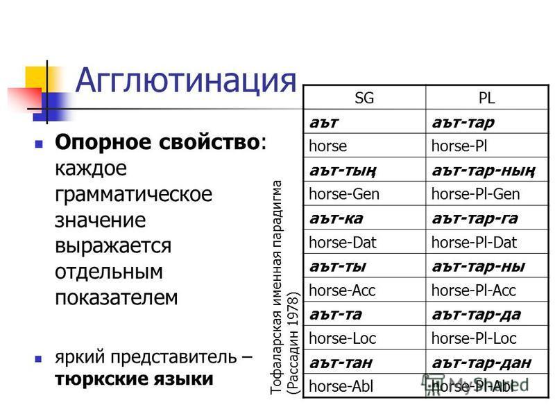 Агглютинация Опорное свойство: каждое грамматическое значение выражается отдельным показателем яркий представитель – тюркские языки SGPL артарт-тар horsehorse-Pl арт-тыңарт-тар-ның horse-Genhorse-Pl-Gen арт-каарт-тар-га horse-Dathorse-Pl-Dat арт-тыар