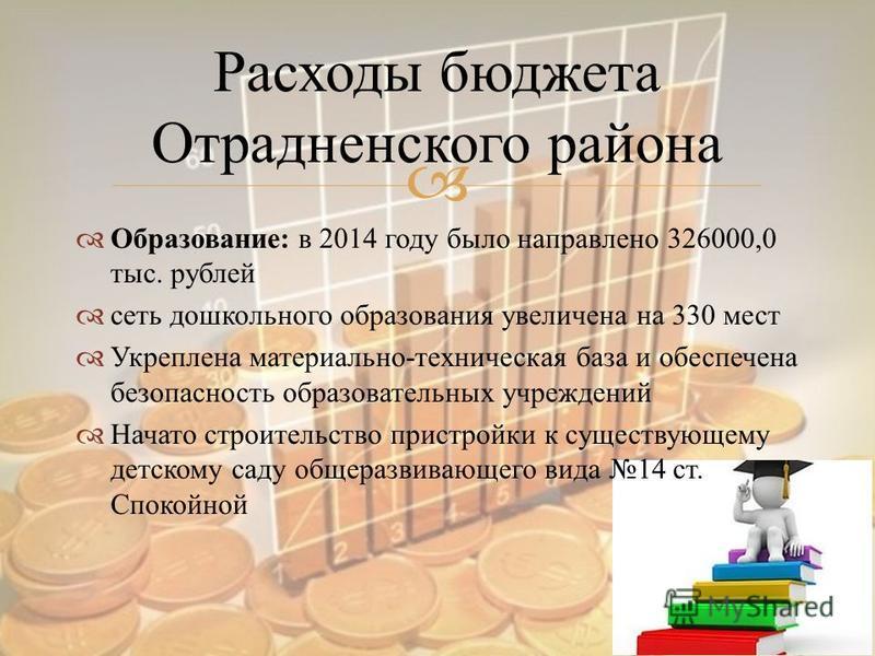 Образование : в 2014 году было направлено 326000,0 тыс. рублей сеть дошкольного образования увеличена на 330 мест Укреплена материально - техническая база и обеспечена безопасность образовательных учреждений Начато строительство пристройки к существу