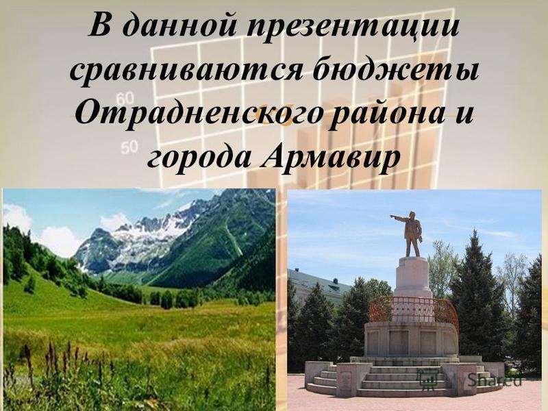 В данной презентации сравниваются бюджеты Отрадненского района и города Армавир