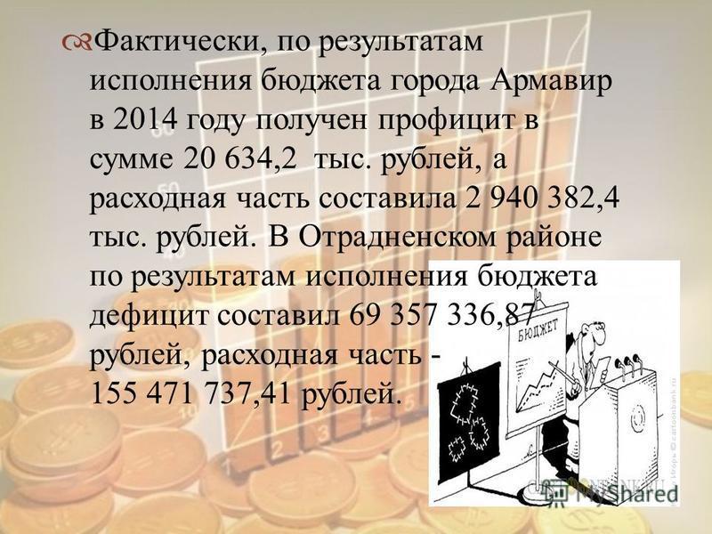 Фактически, по результатам исполнения бюджета города Армавир в 2014 году получен профицит в сумме 20 634,2 тыс. рублей, а расходная часть составила 2 940 382,4 тыс. рублей. В Отрадненском районе по результатам исполнения бюджета дефицит составил 69 3