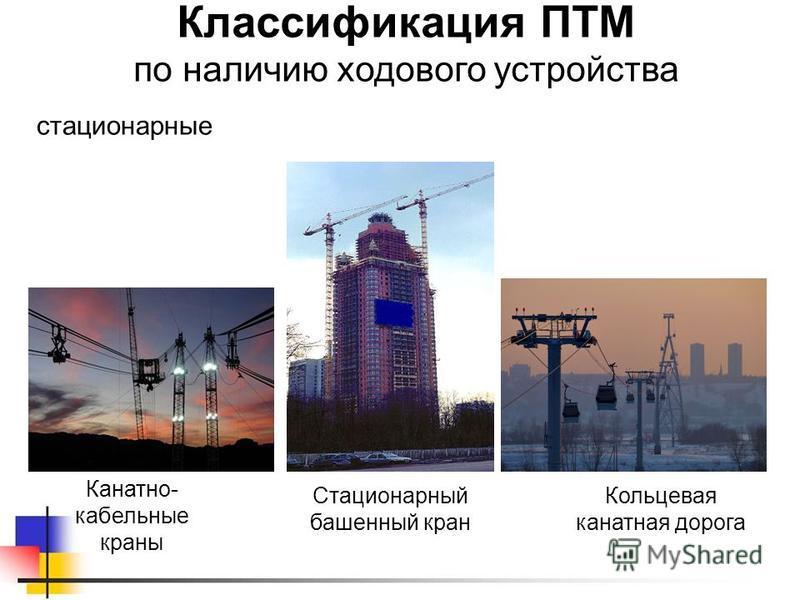 Классификация ПТМ по наличию ходового устройства стационарные Кольцевая канатная дорога Канатно- кабельные краны Стационарный башенный кран