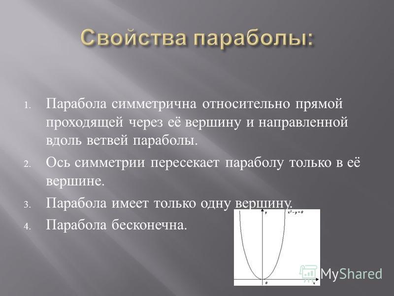 1. Парабола симметрична относительно прямой проходящей через её вершину и направленной вдоль ветвей параболы. 2. Ось симметрии пересекает параболу только в её вершине. 3. Парабола имеет только одну вершину. 4. Парабола бесконечна.