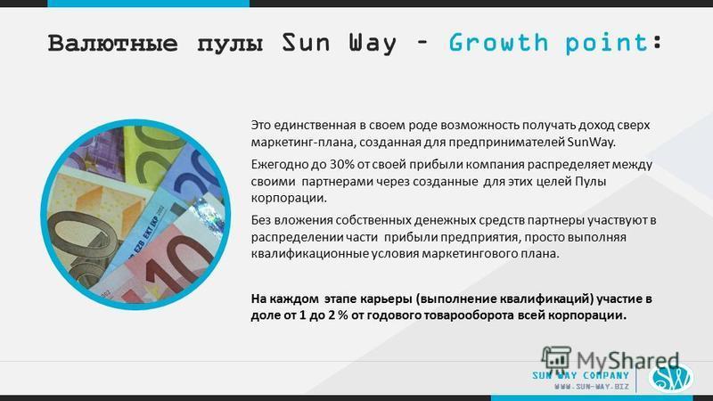 .. WWW.SUN-WAY.BIZ SUN WAY COMPANY Это единственная в своем роде возможность получать доход сверх маркетинг-плана, созданная для предпринимателей SunWay. Ежегодно до 30% от своей прибыли компания распределяет между своими партнерами через созданные д