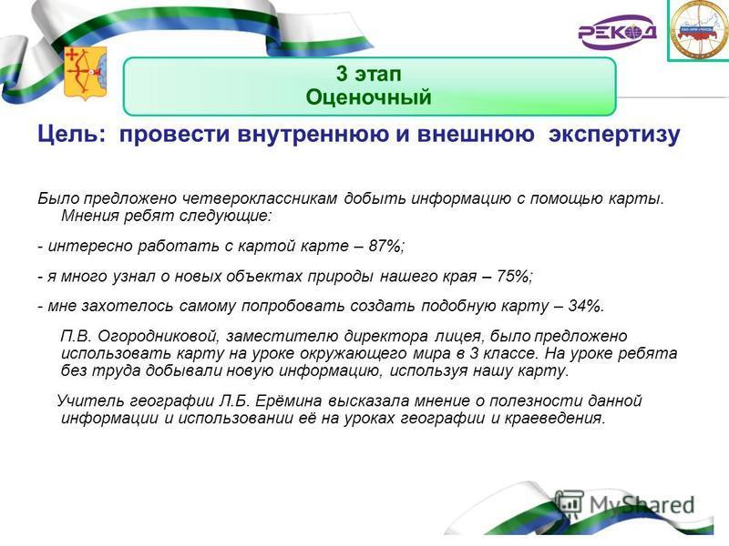 Kirov region Цель: провести внутреннюю и внешнюю экспертизу Было предложено четвероклассникам добыть информацию с помощью карты. Мнения ребят следующие: - интересно работать с картой карте – 87%; - я много узнал о новых объектах природы нашего края –