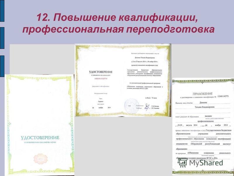 12. Повышение квалификации, профессиональная переподготовка