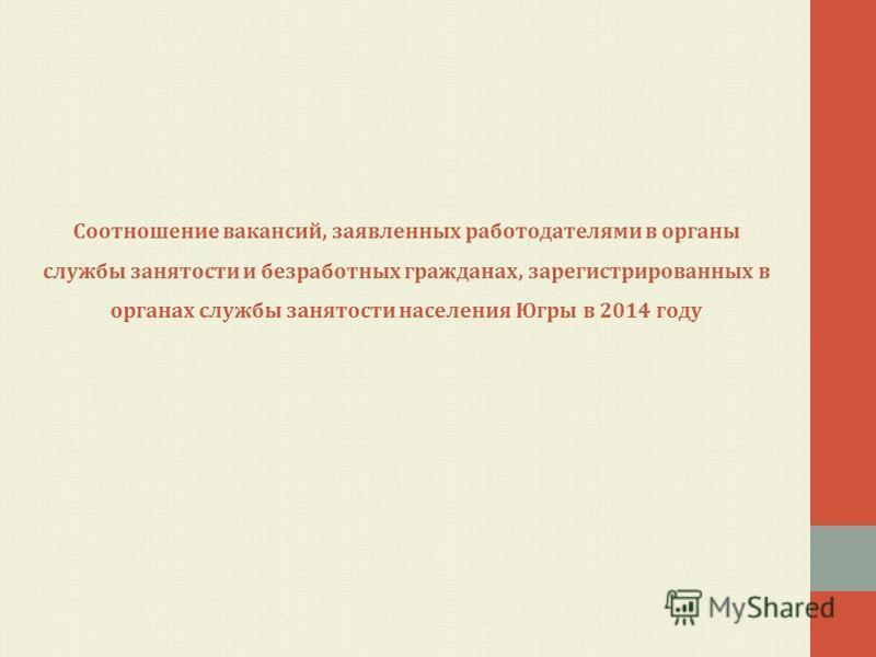 Соотношение вакансий, заявленных работодателями в органы службы занятости и безработных гражданах, зарегистрированных в органах службы занятости населения Югры в 2014 году