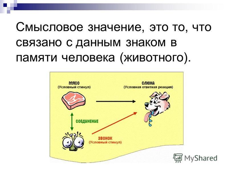 Смысловое значение, это то, что связано с данным знаком в памяти человека (животного).